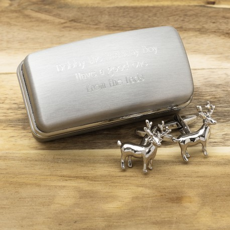 Silver Standing Stag Cufflinks And Personalised Engraved Cufflinks Box