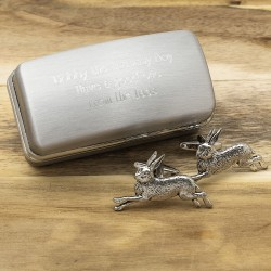 Pewter Running Hare Cufflinks And Personalised Engraved Cufflinks Box