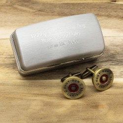 Brass Shotgun Cap Cufflinks And Personalised Engraved Cufflinks Box