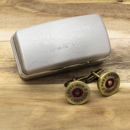 Brass Shotgun Cap Cufflinks And Personalised Engraved Cufflinks Box