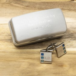 Engraved Sonar Blues Cufflinks And Personalised Engraved Cufflinks Box