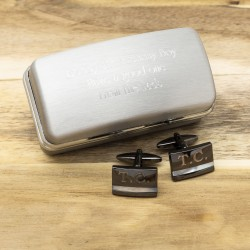 Engraved Gunmetal Cufflinks And Personalised Engraved Cufflinks Box
