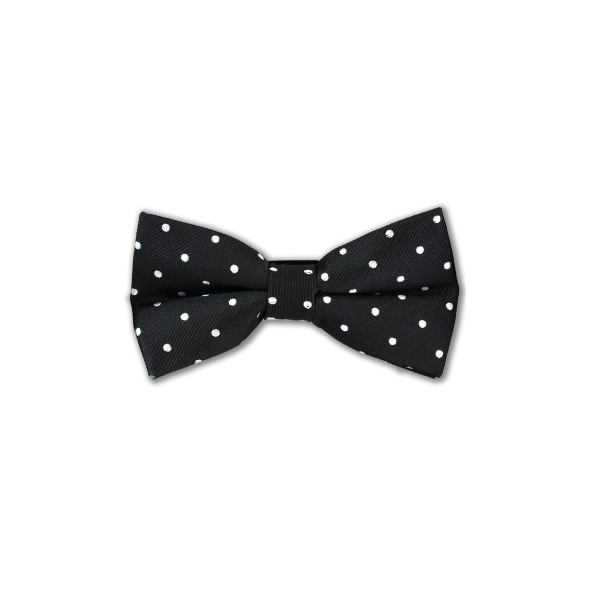black and white spot bow tie