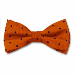 Orange and Navy Spot Bow Tie