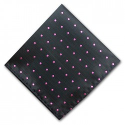 Black and Pink Spot Pocket Square Handkerchief