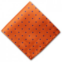 Orange and Navy Spot Pocket Square Handkerchief