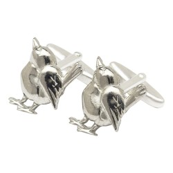 Pewter Wren Bird Cufflinks