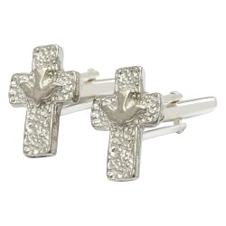 Pewter Dove Cross Cufflinks