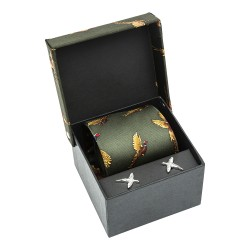 Forest Green Pheasant Silk Country Tie and Cufflinks Set