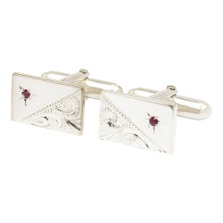 Esquire - Sterling Silver with Ruby Star Rectangle Cufflinks