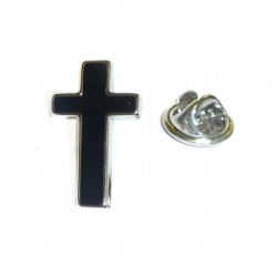Black Cross Lapel Pin