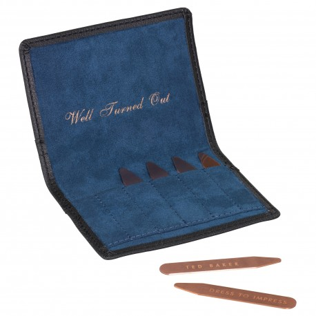 TED BAKER - Space & Time Collar Stiffeners -  Black Brogue Set