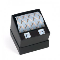 Boxing Hares Tie and Cufflinks Boxed Gift Set