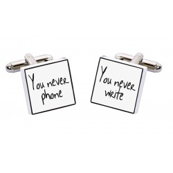 """You Never Phone/You Never Write"" Bone China Cufflinks"