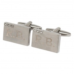 Crystal Cufflinks Personalised with engraved Initials -Engraved Cufflinks