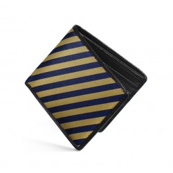 Dalvey Slim Billfod Wallet - Black Caviar Leather & Navy/Gold Stripe Silk