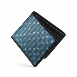 Dalvey Slim Billfold Wallet -Black Caviar Leather & Teal Sakura Silk