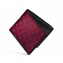 Dalvey Slim Billfold Wallet - Black Caviar Leather & Wine Petal Quadrille