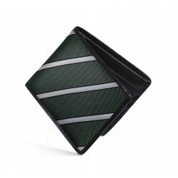 Dalvey Slim Billfold Wallet - Black Caviar Leather & Green Herringbone Stripe