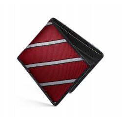 Dalvey Slim Billfold Wallet - Black Caviar Leather & Burgundy Herringbone