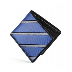 Dalvey Slim Billfold Wallet -Black Caviar Leather & Blue Herringbone Stripe