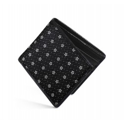 Dalvey Slim Billfold Wallet -Black Caviar Leather & Black Sakura