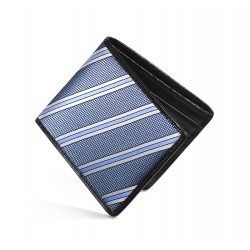 Dalvey Slim Billfold Wallet -Black Caviar Leather & Blue Natte Stripe Silk