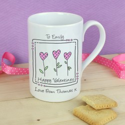 Personalised 3 Hearts Slim Mug