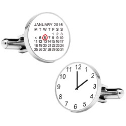 Personalised Special Date and Time Cufflinks White