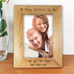 Personalised 6x4 Happy Valentines Day Wooden Photo Frame