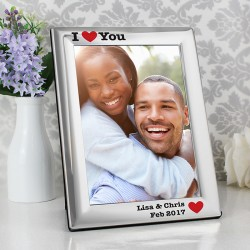Personalised Silver Plated 5x7 I Heart Photo Frame