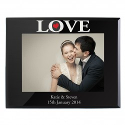 Personalised LOVE Black Glass 5x7 Photo Frame