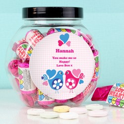 Personalised Love Heart Birds Sweet Jar