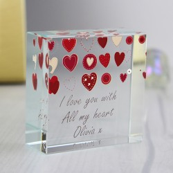 Personalised Fabric Hearts Design Crystal Token