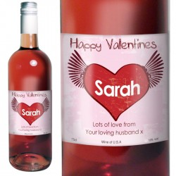 Personalised Rose Wine Heart Label with Gift Box