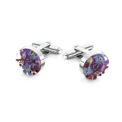 Purple Haze Flower Cufflinks
