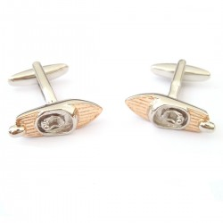 Two Tone Silver & Rose Gold Retro Speedboat Cufflinks
