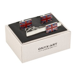 Union Jack Flag Cufflinks and Tie Clip Gift Set