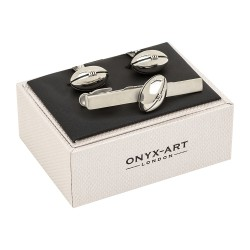 Classic Rugby Ball Cufflinks and Tie Clip Geift Set