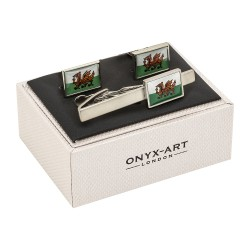Flag of Wales Cufflinks and Tie Clip Gift Set.
