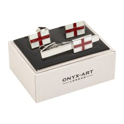 St George Cross Flag Cufflinks and Tie Bar Set