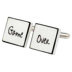 """Game Over"" Bone China Cufflinks"