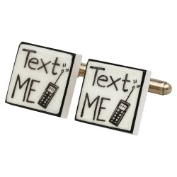 """Text Me"" Bone China Cufflinks"