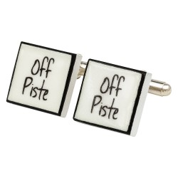"""Off Piste"" Bone China Cufflinks"
