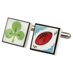 Irish Rugby Bone China Cufflinks