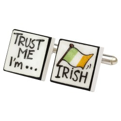 Trust Me I'm Irish Bone China Cufflinks
