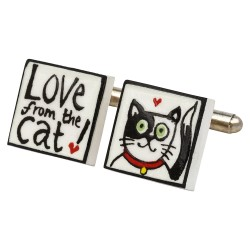 Love From The Cat Bone China Cufflinks