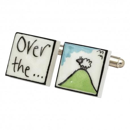 """Over The Hill"" Bone China Cufflinks"