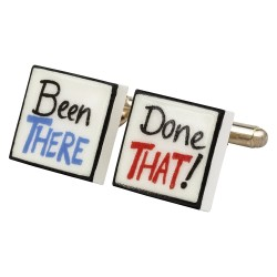 """Been There, Done That"" Bone China Cufflinks"