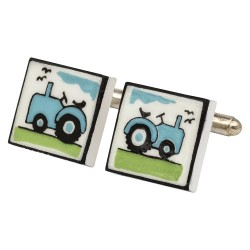 Blue Tractor Bone China Cufflinks
